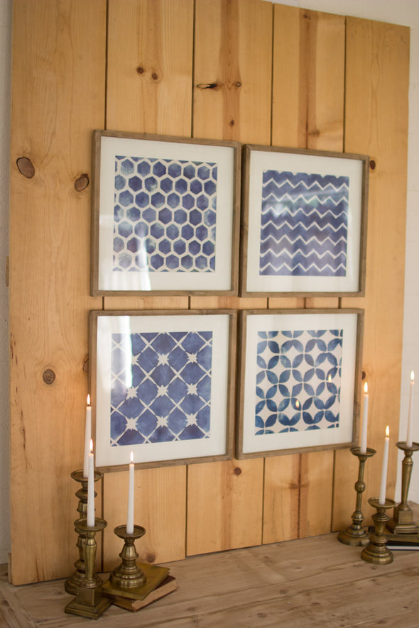 Set of 4 Blue Block Geometric Prints Under Glass