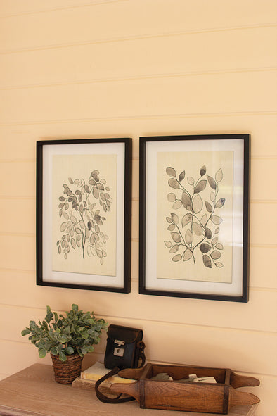 set of 2 framed black leaf prints under glass