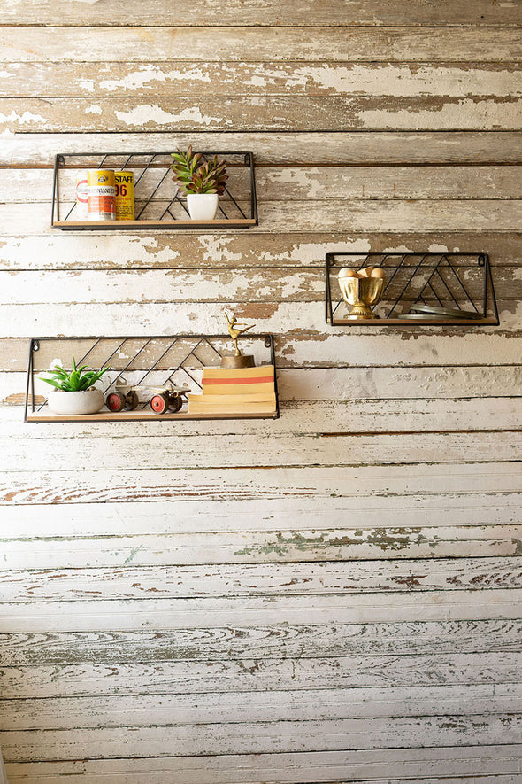 set of 3 wood & metal wall shelves
