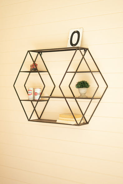 diamond shaped metal wall shelf