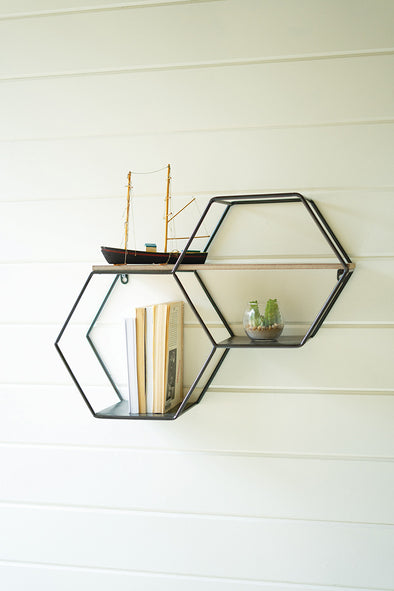 Metal & Wood Hexagon Wall Shelves
