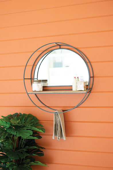 Iron & Wood Round Mirror With Shelves