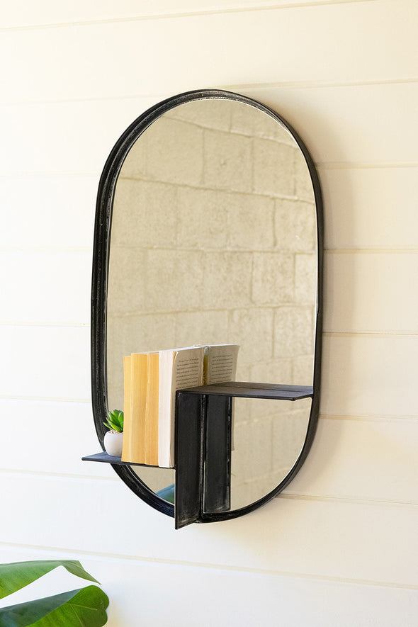 Oval Mirror With Tiered Shelf