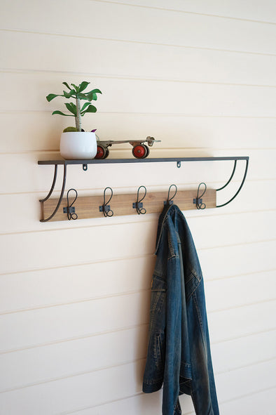 Metal & Wood Coat Rack With Shelf