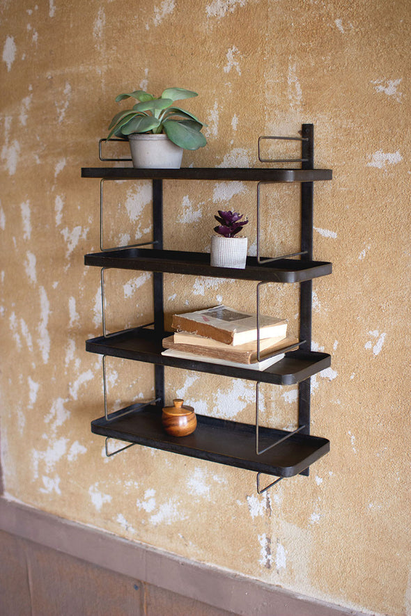 metal wall unit with four shelves