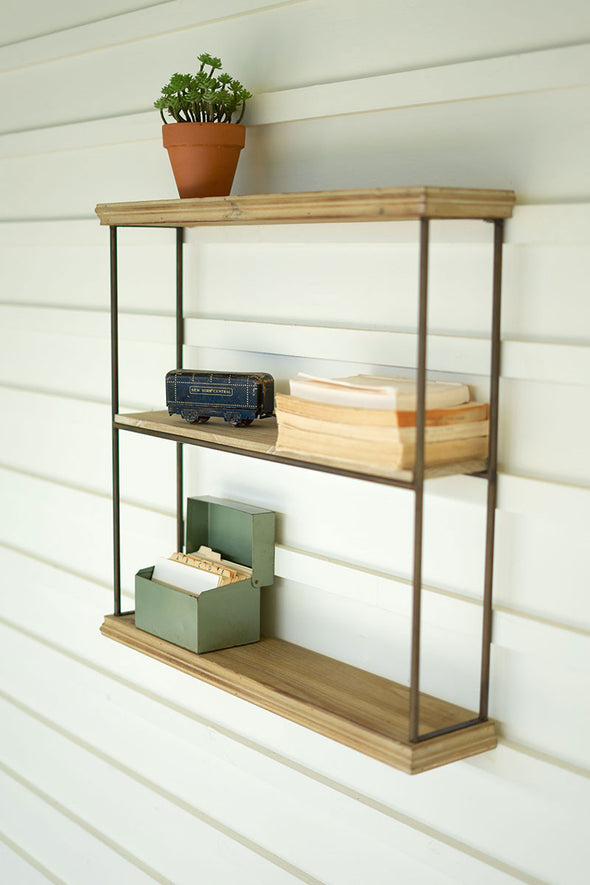 three tiered wood & metal wall shelf