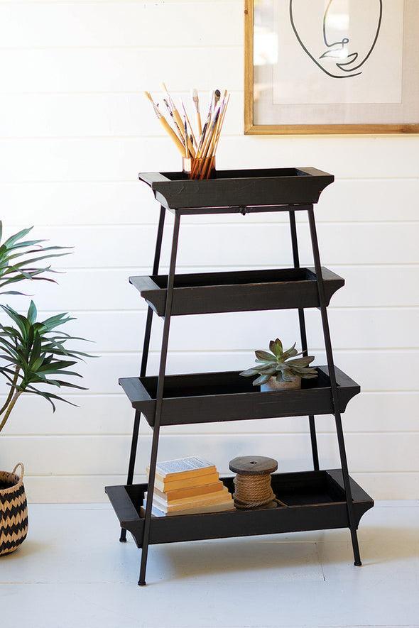 Four Tiered Wood & Iron Display Tower