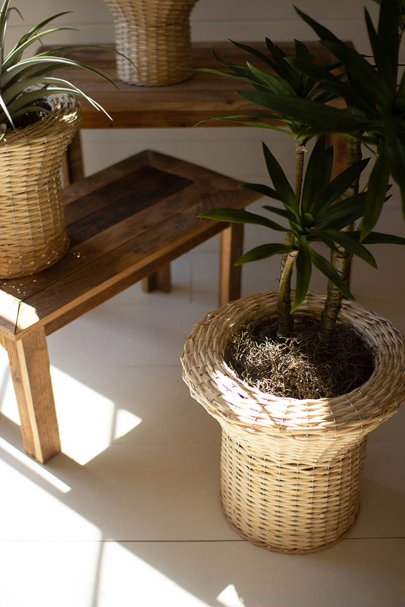 set of 3 flared rattan planters