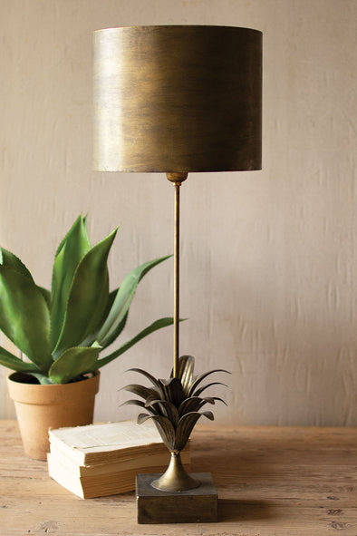 Antique Gold Metal Table Lamp With Leaf Accent & Metal Shade