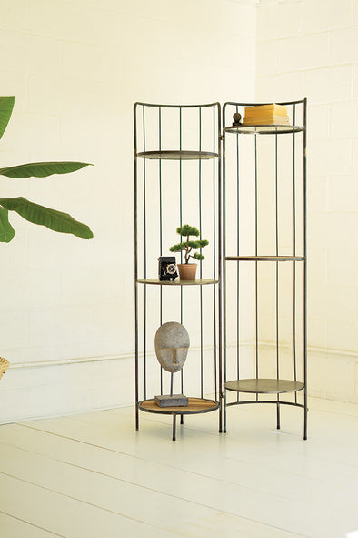 Hinged Tall Round Metal & Wood Display Shelving Unit