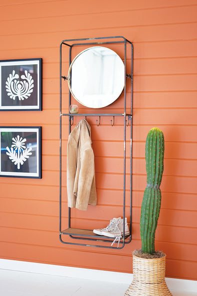 Tall Coat Rack With Round Mirror & Wooden Shelf