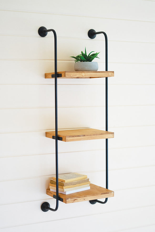 wall ladder three tiered shelf
