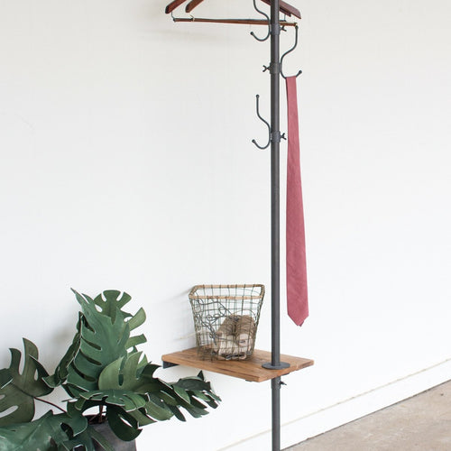 METAL COAT RACK WITH RECYCLED WOODEN SLAT SIDE TABLE-Delirious by Design-Delirious by Design