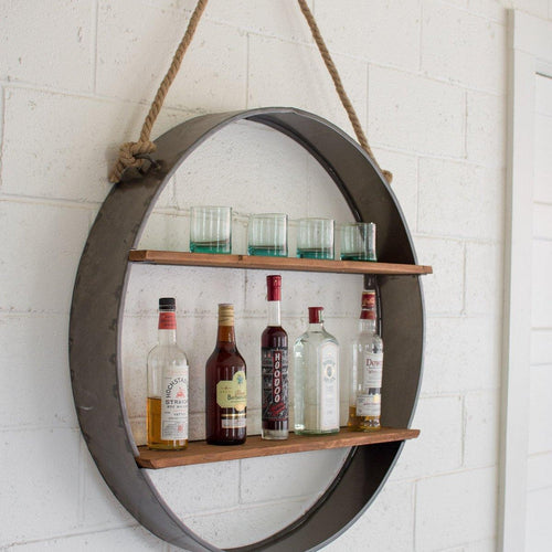CIRCLE IRON AND WOOD HANGING WALL SHELF-Delirious by Design-Delirious by Design