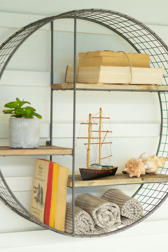 Round Wire Mesh & Recycled Wood Floating Shelf