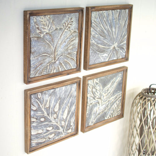 Set of 4 Framed Tropical Pressed Metal Tiles - Wall Decor - Delirious by Design