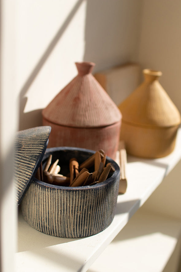 set of 3 textured tagine storage canisters