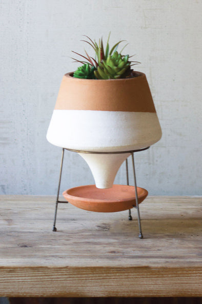 natural and white small terracotta funnel planter with wire base