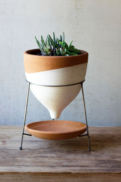 natural and white large terracotta funnel planter with wire base
