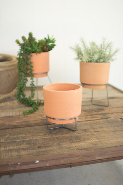 set of 3 natural clay planters with wire bases
