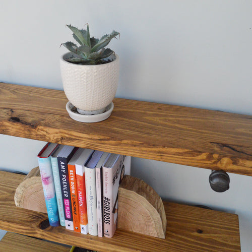 Industrial Floating Shelf + Pipe Brackets-Floating Shelves-Delirious by Design-Delirious by Design