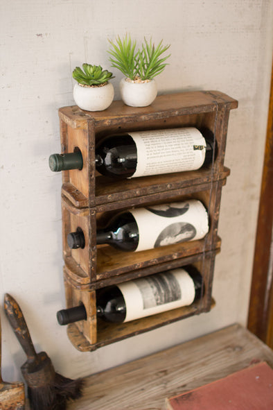 HANGING ANTIQUE BRICK MOLD WINE RACK