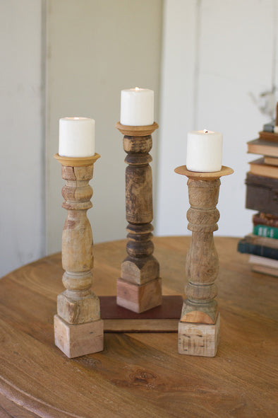 SET OF 3 ASSORTED WOODEN RECLAIMED BANISTER CANDLE STICKS