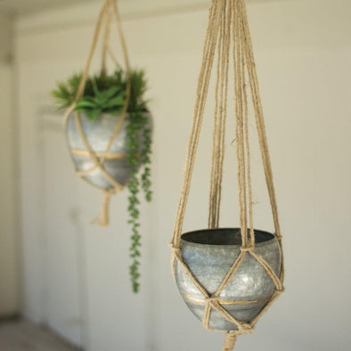 Set of 2 Hanging Galvanized Planters - Mothers day - Delirious by Design