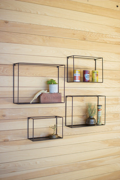 SET OF 4 BLACK WALL SHELVES