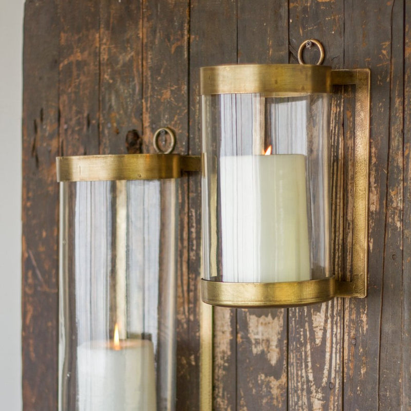 Brass Wall Mounted Hurricane - Wall Light - Delirious by Design