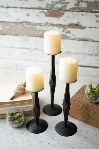Set of 3 Hand Forged Iron Candle Stands
