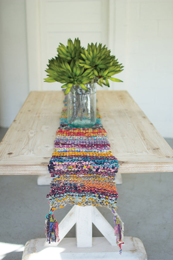 knitted kantha runner with tassels