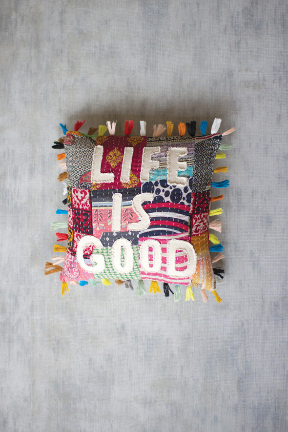 LIFE IS GOOD KANTHA PILLOW