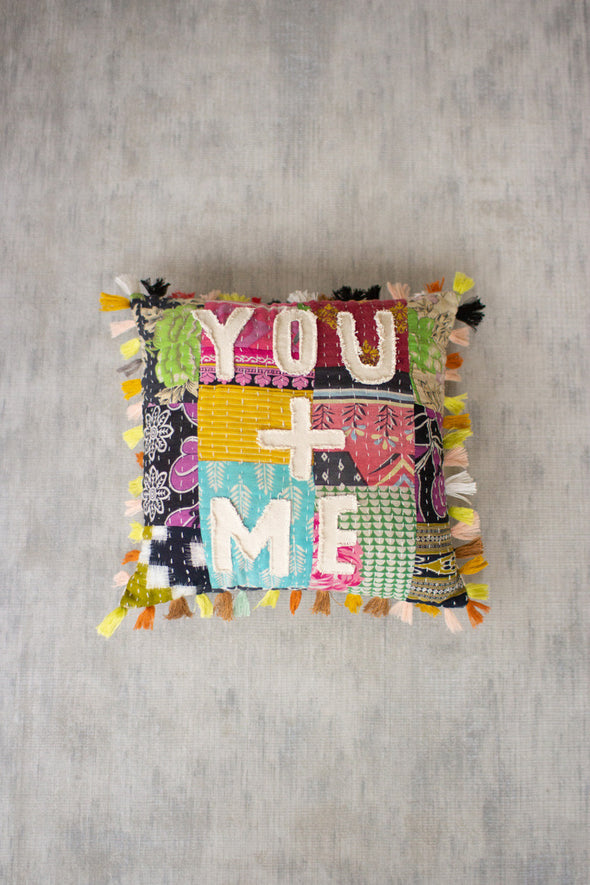 you + me kantha pillow