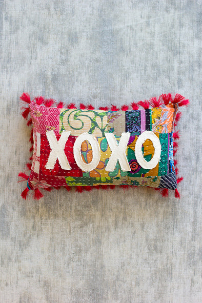 """XOXO"" Kantha Pillow"