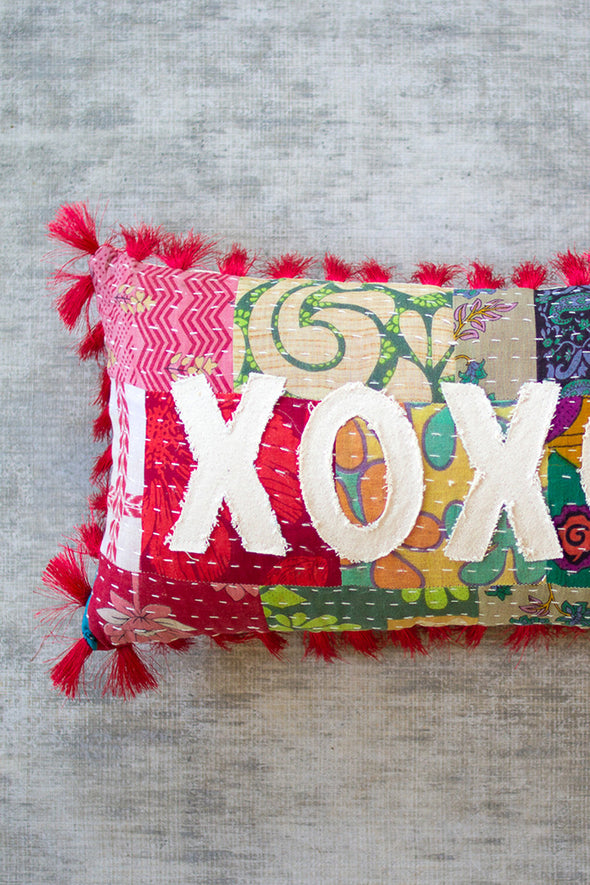 xoxo kantha pillow