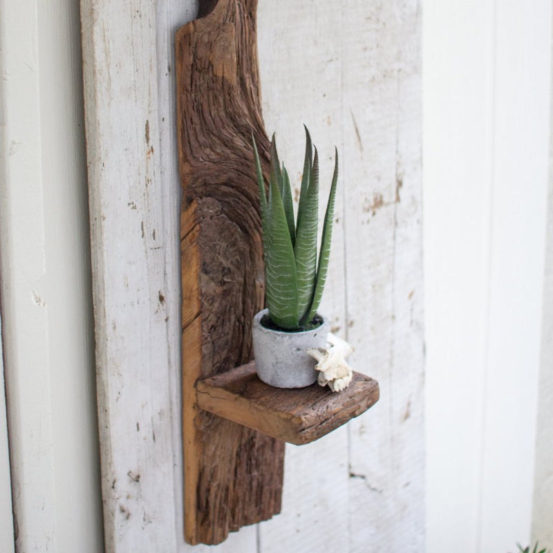 TALL OR SHORT RECYCLED WOOD WALL SHELF