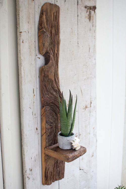 TALL RECYCLED WOOD WALL SHELF-Delirious by Design-Delirious by Design
