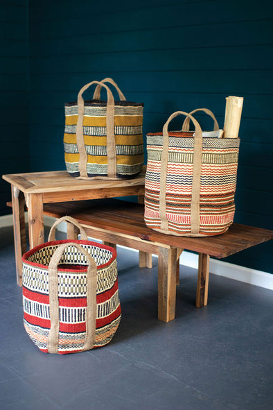 Set of 3 Multi-Colored Woven Jute Baskets With Handles