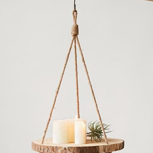 Hanging Round Wood Slice Shelf-Delirious by Design-Delirious by Design