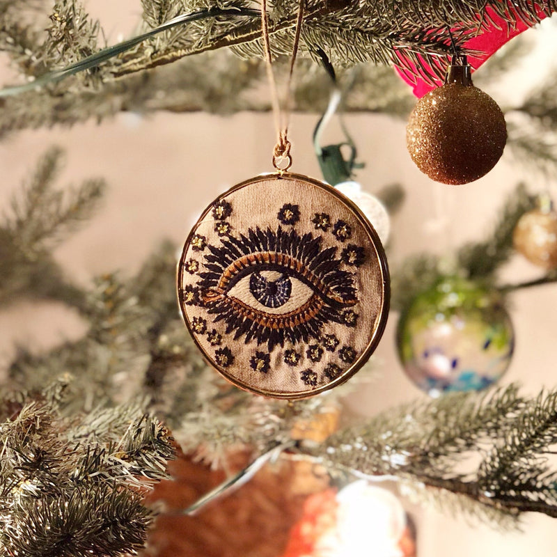 Evil Eye Stitched Ornament-ornament-Delirious by Design-Delirious by Design