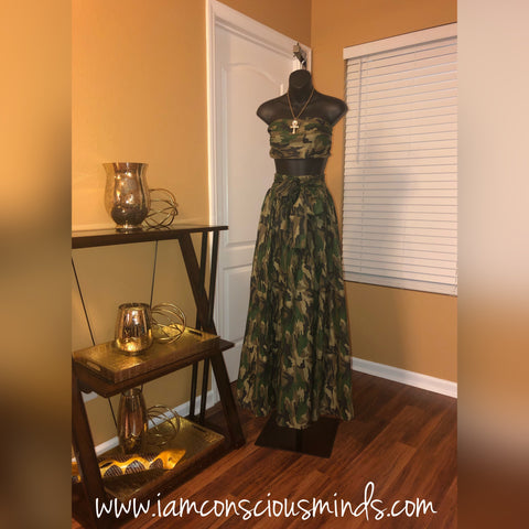 Camo Skirt & Headwrap (Green)