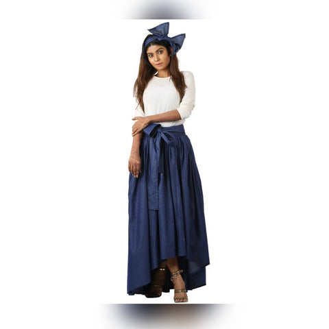 Denim High Low Skirt & Headwrap