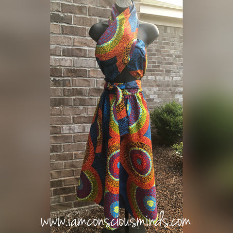 African Inspired Skirt & Headwrap (Mid Length)