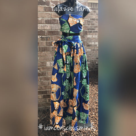 African Inspired Palazzo Pants & Headwrap
