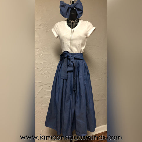 Denim Skirt & Headwrap (Mid Length)