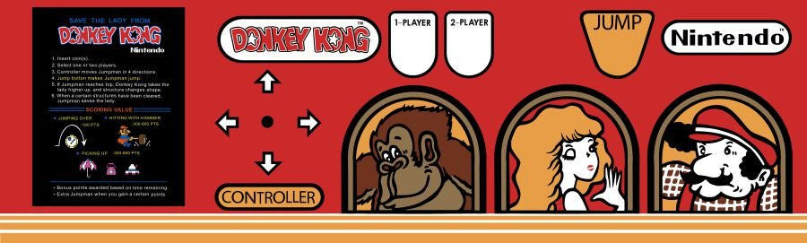 Donkey Kong or Donkey Kong Jr or Popeye Acrylic CPO - Control Panel Overlay