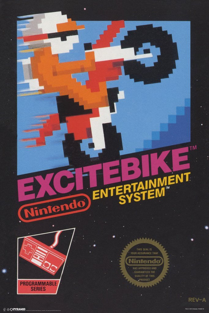 picture regarding Printable Video Game Covers titled ExciteBike Arcade Box Poster Print