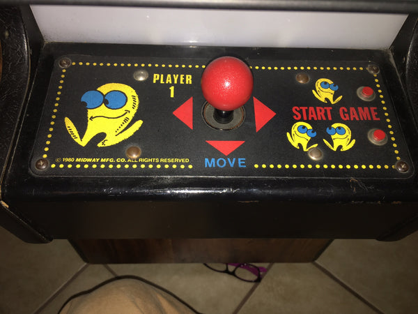 Pac-Man Cocktail Arcade Control Panel Overlay - CPO