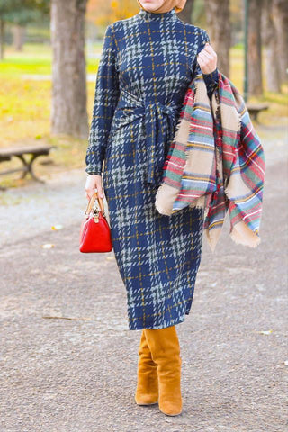 Plaid Tie Front Dress